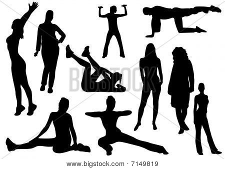 Illustration of some women and a man doing gymnastics