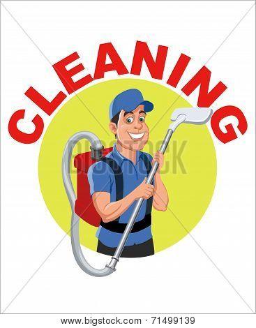 Clean man cartoon