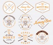 foto of honey bee hive  - Honey and bees vector badges and labels for any use - JPG
