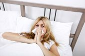picture of cold-shoulder  - Portrait of woman suffering from cold in bed - JPG