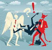 stock photo of caught  - Great illustration of Retro styled Abstract Businessman who is caught in a titanic struggle between a Devil and an Angel fighting the battle of Good and Evil - JPG