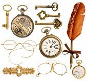 picture of nostalgic  - set of golden antique objects. old keys clock ink feather pen nostalgic glasses isolated on white background ** Note: Soft Focus at 100%, best at smaller sizes - JPG