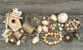 pic of nostalgic  - vintage decoration with eggs and flower bulbs - JPG