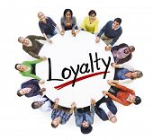 image of loyalty  - Group of People Holding Hands Around Letter Loyalty - JPG