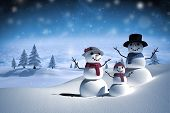 picture of snow clouds  - Digitally generated white snow family against white clouds under blue sky - JPG
