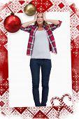 stock photo of sad christmas  - Portrait of a sad woman against christmas themed page - JPG
