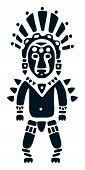 picture of apache  - stylized aztec warrior ornament in indian tribal style - JPG