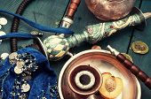 picture of shisha  - sett foto composition with shisha and accessories - JPG