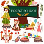 picture of millipede  - Vector Set of Cute Woodland and Forest Animals in School - JPG