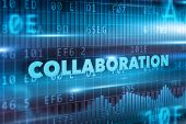 stock photo of collaboration  - Collaboration concept with blue background blue text - JPG