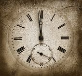 foto of time machine  - Midnight time on a stone watch - JPG