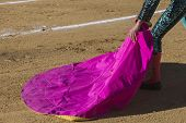 foto of bullfighting  - Spanish Bullfighter with the Cape in the Sabiote bullring Sabiote Jaen pronvince Spain - JPG