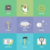 picture of thinking  - Creative thinking process and study activities learning new skills and ideas explore and discovery new things planning and creating innovation projects - JPG