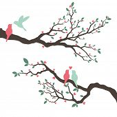 picture of two hearts  - Retro Love Bird Wedding Invitation - JPG