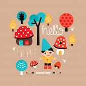 stock photo of toadstools  - Hello little woodland forest boy fall themed kids toadstool fantasy village postcard cover design in vector - JPG