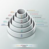 picture of cylinder pyramid  - Modern infographics options banner with 3d pyramid for 5 options made of white cylinders - JPG