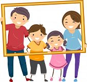 pic of hollow  - Illustration Featuring a Happy Family Holding a Hollow Frame - JPG