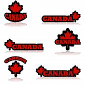 stock photo of canada maple leaf  - Collection of icons featuring a red maple leaf and the word Canada - JPG