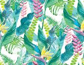 pic of jungle flowers  - Watercolor artwork of exotic flowers and leaves - JPG