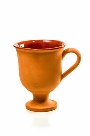 pic of loamy  - Brown clay cup on a high leg without pictures isolated on white background  - JPG