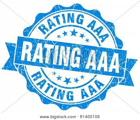 Rating Aaa Blue Grunge Seal Isolated On White