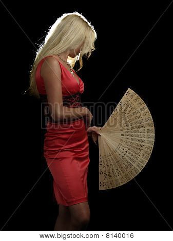 Hot Blonde In Red Dress With Fan