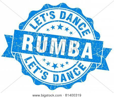 Rumba Blue Grunge Seal Isolated On White