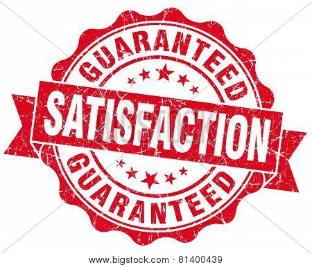 Satisfaction Guaranteed Red Grunge Seal Isolated On White