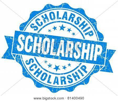 Scholarship Blue Grunge Seal Isolated On White