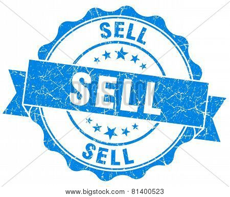Sell Blue Grunge Seal Isolated On White