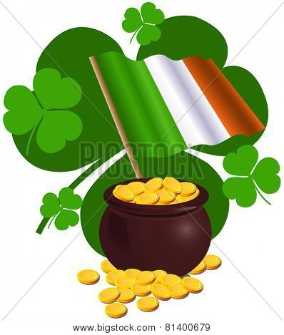 Saint Patrick Day design with Irish flag and pot full of gold coins