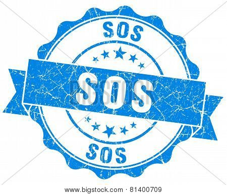 Sos Blue Grunge Seal Isolated On White