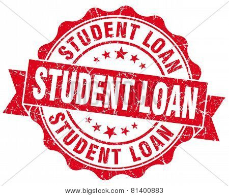 Student Loan Red Grunge Seal Isolated On White
