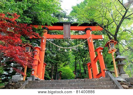 Gate To Stairway Of Chureito Pagoda, Arakura Sengen Shrine In Japan