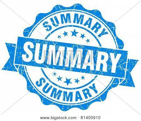 Summary Blue Grunge Seal Isolated On White