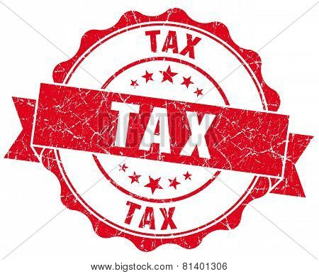 Tax Red Grunge Seal Isolated On White