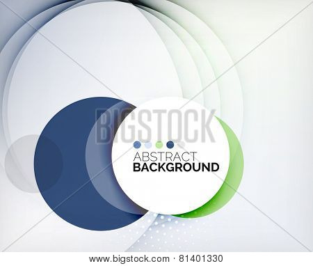 Color circles composition, rings with shadows. Abstract background