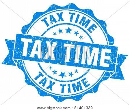 Tax Time Blue Grunge Seal Isolated On White