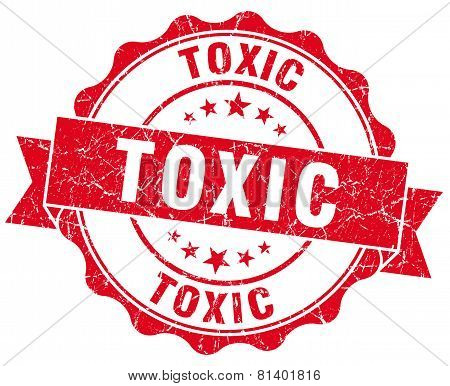 Toxic Red Grunge Seal Isolated On White