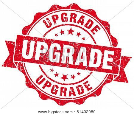 Upgrade Red Grunge Seal Isolated On White