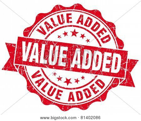 Value Added Red Grunge Seal Isolated On White