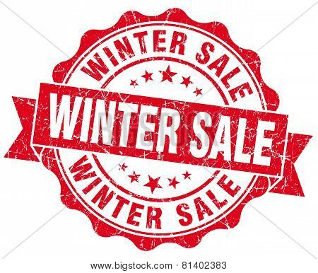 Winter Sale Red Grunge Seal Isolated On White