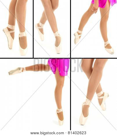 Collage of ballerina legs in pointes isolated on white