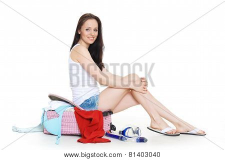 Young Woman With Suitcase.