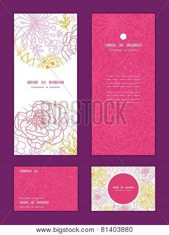 Vector flowers outlined vertical frame pattern invitation greeting, RSVP and thank you cards set