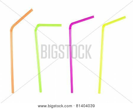 Set of four bent drinking straws over white background
