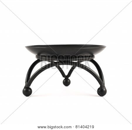 Black metal forged stand isolated