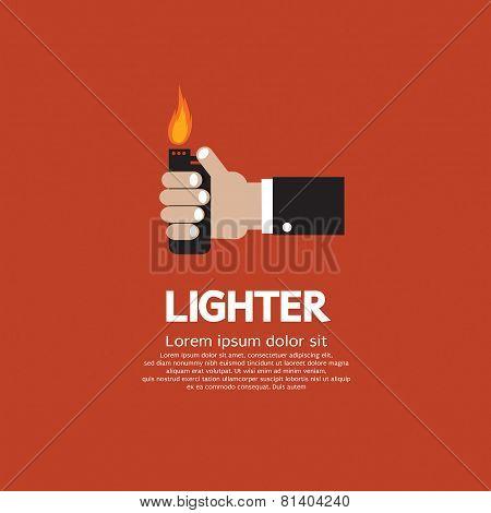 Hand Holding A Lighter.