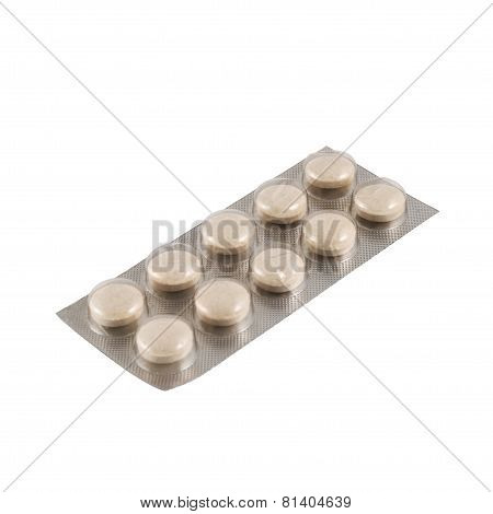 Blister bubble pack of pills isolated