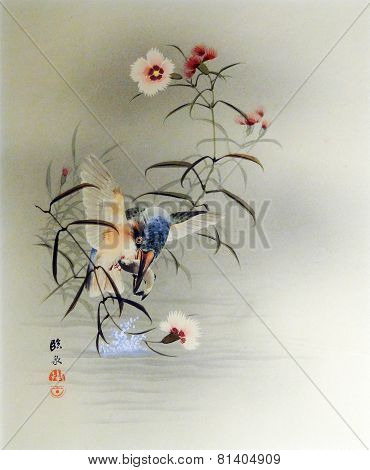 Vintage Japanese Print - Bird Catching Fish